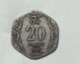 20paisa coin 1989