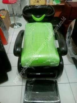 kursi keramas salon atau kursi salon rangka hitam jok hijau