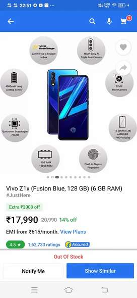 Vivo z1x mobile fully new  showroom condition all accessories and bil