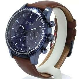 Jam tangan pria Guess original leather biru