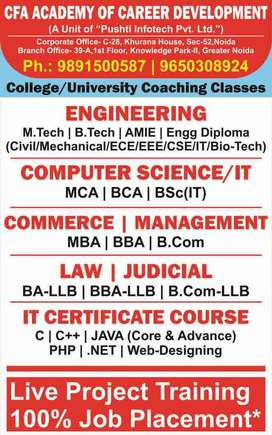 Coaching Tuition For BTech MCA BCA Engineering Diploma