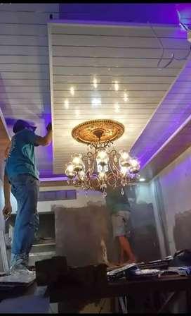 Lampu LED variasi, plafon PVC 150ribu/mtr.