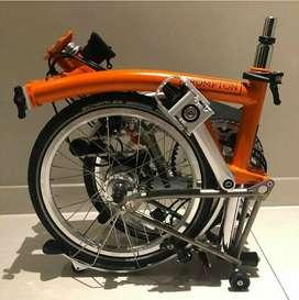 Sepeda lipat Brompton M6LX Signal Orange Hermes Titanium superlight
