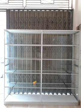 Rak kaca pakai dinding/etalase, rak kayu pakai dan tanpa dinding
