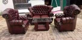 Sofa 321 set JAGUAR maron motif kancing.