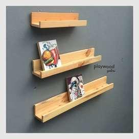 Satu Set Rak Foto Dinding untuk Pajangan Foto Dekorasi dapat 3pcs