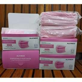 Masker medis pink 3 ply murah