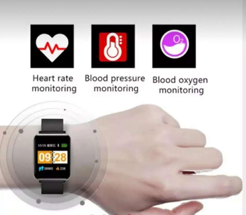 Jam tangan smartwatch bluetooth fitur heart rate, blood pressure dll 0