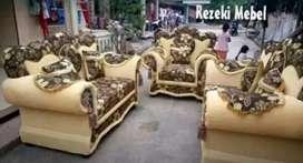Rezeki Mebel_1set 321 sofa Serena coklat motif bunga