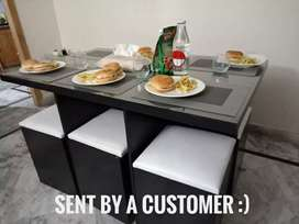 6 person dining table with extra storage option