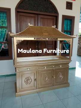 Meja jati aquarium Maulana bufet
