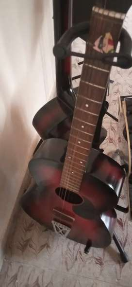 Guitar(no carry bag) , 6 holes Flute, notation wood stands for sale.