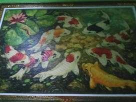 lukisan tangan ikan koi asli
