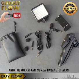 PAKET VLOG Mic Clip On Deluxe HP Smartphone Tripod Flash LED YOUTUBER