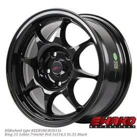 Keerom R15 H5 Black - Velg Mobil Racing Hsr Wheel Import (free ongkir)