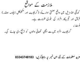 REQUIRED STAFF FOR DIAPER PLANT IN KORANGI