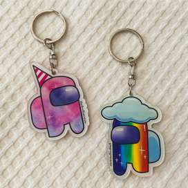 Gantungan Kunci 2 sisi Akrilik Karakter AMONG US souvenir hadiah lucu