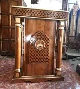 mimbar masjid kayu jati model biasa 019