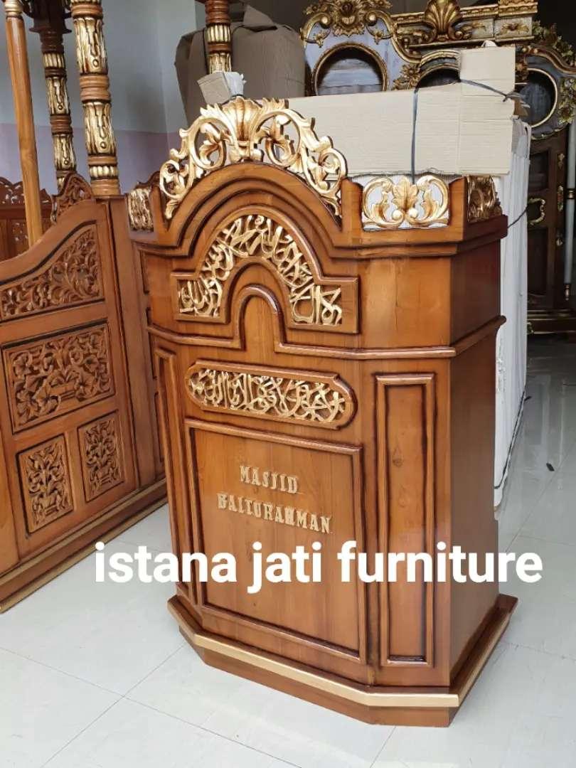 Mimbar masjid podium salina material kayu jati