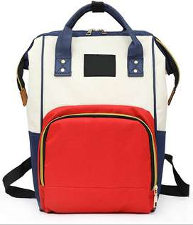 Baby Bucket Diaper Bag/Red and Navy Blue