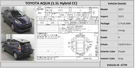 TOYOTA AQUA VEHICLE(6739) 2017 MODEL
