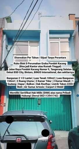 Ruko Blok D Perumahan Graha Pondok Kacang Tangerang Selatan