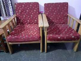 Two sofa chairs fure rubber wood