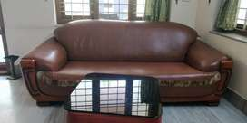 Sofa set Teak and Leather 3*2*1. Excellent condition