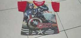 Baju Anak Kaos Karakter Captain America 5T-8T.Mulus Nominus.AdemNyaman