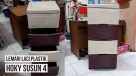 Gratis ongkir bjm - Lemari plastik susun 4 motif minimalis
