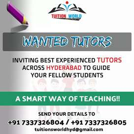 WANTED TUTORS-EXPERIENCED MALE AND FEMALE TEACHERS