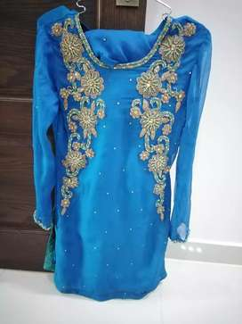 Embellished royal blue dress. Three pieces. With stitched undershirt.