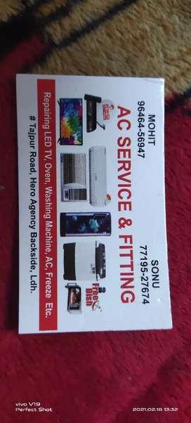 Ac Sarvice+fitting or Repair LED,Washing Machine,Fridge,Oven etc