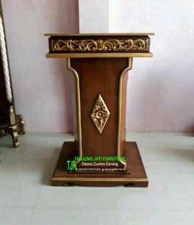 Mimbar podium masjid /musholla kayu jati solid