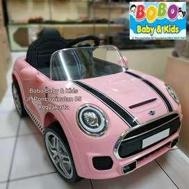 Mainan Mobil Aki Anak BerGaransi Model Mini Cooper Mobilan Aki Anak