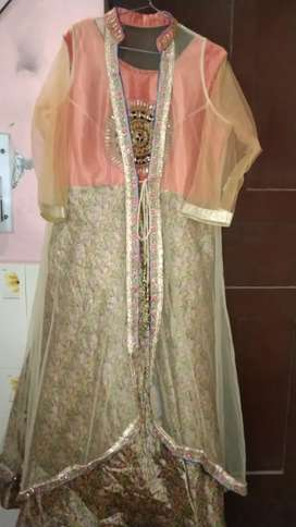 Party Gown with Net Jacket