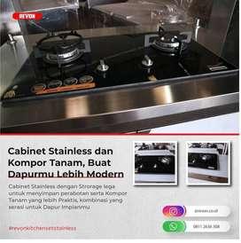 Kabinet kompor tanam stainless bisa custom langsung produsen Batam