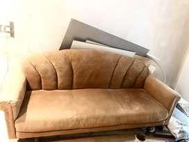 Four seater velvet leather finish sofa