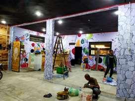 Wallpaper dinding gordyn karpet vinyl parkit vertical blind lsc Medan