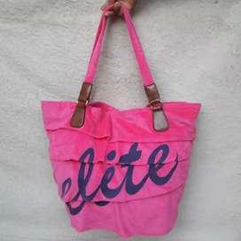 Totebag Elite pink beludru