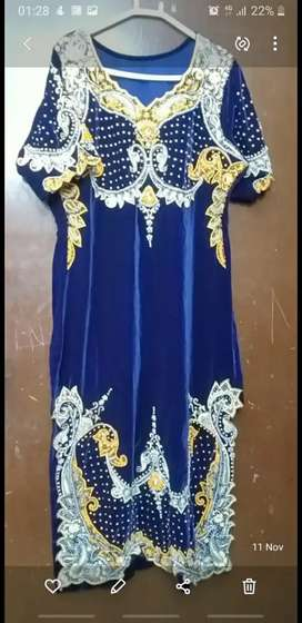 Velvet suit with zari work and pearl work