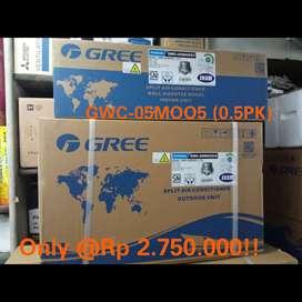 Jual AC Gree Tipe MOO3 dan MOO5 versi Standard kondisi masih baru