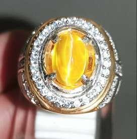 Batu Cincin Opal Cat Eye Mata Kucing emas Asli