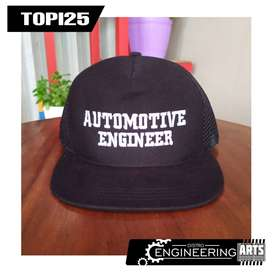 Topi Bordir Motif Automotif Engineering Hitam Bagus - [TOPI25]