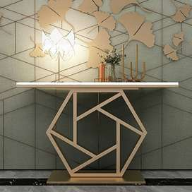 Luxury Console Table Laminated Top with Metal Frame Entryway Table