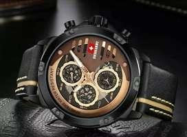 jam tangan swiss army dark black 3 chrono on, leater strap black