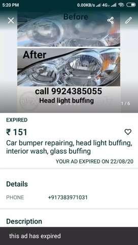 Car bumper repairing head light buffing