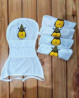 Jual 1 paket bedong instan, selimut, popok kain, celemek makan bayi
