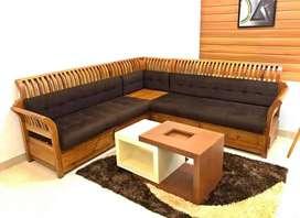 Wood corner sofa