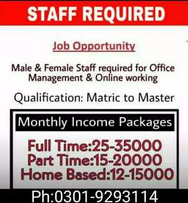 Staff Required For Office Work(Part Time/Full Time)